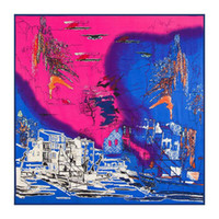 abstract autumn scarf - Fashion Woman Autumn Warm Silk Scarf Square cm Abstract Oil Painting Pattern Twill Silk Square Sheap Silk Scarves LL0037