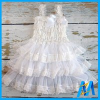 Cheap 2016 Baby New White Dress Flower Girl Lace Chiffon Dress Fashion Baby Princesses Dresses Toddler Kids TuTu Dress Party Wear Dress 24pcs Lot
