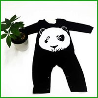 Wholesale Cheap Sleeve Jumpsuits - baby boys rompers panda girls jumpsuits newborn children bodysuits long sleeve pants black style high quality fashion factory cheap price