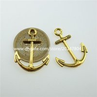 antique boat anchor - 12724 Alloy Antique style Gold Tone Boat Vessels Nautical Anchor Pendant