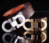 Wholesale Gancio Buckle Designer Belts for Men Gold Buckle brand Hot Leather Belts men high quality luxury New mens belts for men