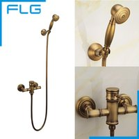 bathroom lighting bronze - Wall Mounted Antique Brass Bronze Brushed Bathtub Faucet with Hand Shower Bathroom Shower Faucets torneiras FLG40007A