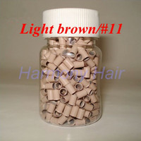 Wholesale 1000pcs bottle mmx2 mmx6mm Micro copper Rings Links Beads For Hair Extensions tools colors