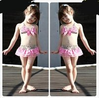 Wholesale 2016 Leopard Pink Kids Girls Swimwear Cute Toddler Swimsuits Baby Swimsuits Bathing Suit Girl three Pieces Bikini Swimming Suit sets