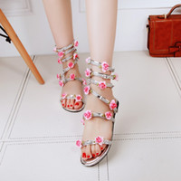 beach roman - 2016 new fashion women shoes flowers rhinestone Roman sandals flat sandals women bohemian beach sandals color