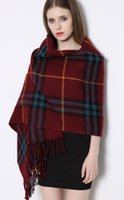 Wholesale Cape Amphibious Chaddar Tassel Europe and The United States Large Thickening In The Fall and Winter of Bag Plaid Scarves