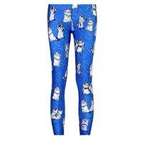 Женщины моды облезлые собаки легинсы синие брюки Печатный Sky Space Эластичный Дышите рождественские Теплый Jeggings Тонкий колготки