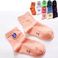 anchor socks - Combed Cotton Colors Socks For Kids Colorful Candy Colors Kids Socks Comfortable Soft Anchor Embroidery Socks For Boy And Girl
