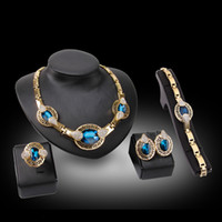 Wholesale Western Exaggerate Fashion Blue White High Gold K CC Plated Necklace Finger Ring Earring Bangle For Women Wedding Party Engagement Gift