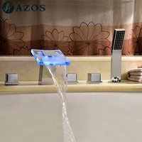Wholesale AZOS Bathtub Faucets LED Glass Sprayer Chrome Polished Deck Mount Hot Cold Mixer Sprayer Showerheads Handles Diverter Valves YGWJ092