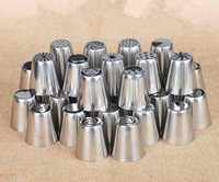 Wholesale Stainless Steel Russian Pastry Nozzles Fondant Icing Piping Tips Set Cake Decorating Tools Rose Tulip Shaped cooking tools