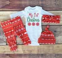 baby snow hats - My st christmas Christmas Baby clothing sets Snows Baby girl bodysuit pant hat headband set Long sleeve New year clothes Red