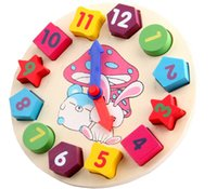 Wholesale Baby Kids Childrens Education Wooden Puzzle Toys Wooden Digital Clock Jigsaw Toy Geometry Stacking Toys