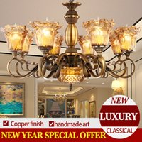 amber bronze - TD8004 copper bronze iron frame amber color italy handmade glass shade chandelier classical luxury style