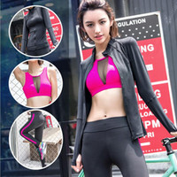 Wholesale Yoga clothing long sleeved three piece sexy net yarn clothing the United States back bra yoga fitness clothes women sports suit fr