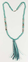 Wholesale Turquoise beaded tassel necklace knoted turquoise and glass beades necklace with suede tassel cream and turq colours beads drop necklace