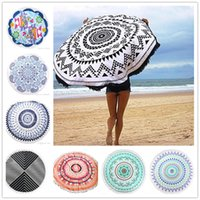 Wholesale 20 Types Cotton Round Beach Towel cm Bath Towel Tassel Decor Geometric Printed Bath Towel Summer Style