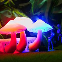 Wholesale Mushroom Wall Socket Light controlled Sensor LED Night Light Lamp Bedroom Baby mushroom Wall Lamp US Plug