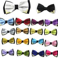 Wholesale Metal bow tie men butterfly cravat bowtie male solid color Wedding commercial bow ties for men