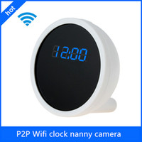 best pinhole camera - 2015 best seller HD P P2P Wifi clock radio camera mini hidden camera wifi wifi clock camera with Motion detection support iPhone Android