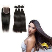 Wholesale Free Weave Bundles Straight Brazilian Hair Top Selling With Cheap Weave Bundles Closure Very Thick End No Tangle Brazilian Human Hair