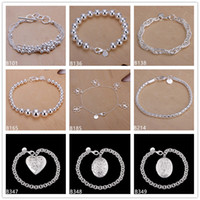 bead hanging light - Six line light soo size beads clover hanging space sterling silver bracelet pieces mixed style GTB32 Hot sale women s silver bracelet