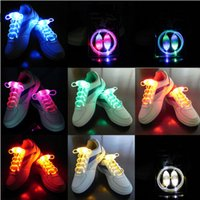 Wholesale 100pcs pairs Cool Fashion Light up LED Shoelaces Flash Party Skating Glowing Shoe Laces for Boys Girls Fashion Luminous Shoe Strings