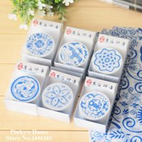 Wholesale Vintage Chinese Style Blue and White Porcelain Wooden Stamp Art Pattern Stamp Scrapbook Stamp1083