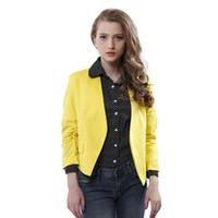 Moda Mujeres corto abrigos del color del caramelo chaquetas ocasionales de la manga de tres cuartos tipo delgado de señora Trajes