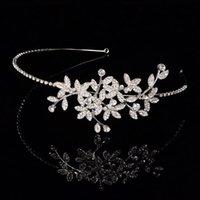 Wholesale flora bridal hair bands crystal headband tiara bridal hair accessories