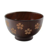 Wholesale Hot Sell Cherry Leaf Hand painted Wood Bowls Healthy Tableware Dinnerware Japanese Style Wooden Kitchen Utensils