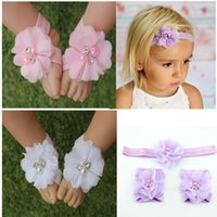 barefoot baby - newboen infant headband pearl rhinestone flowers baby barefoot sandals headband set Photography Props children hair Accessories set