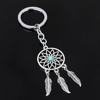 Wholesale 2017 NEW Silver Keychain Feather Tassels Turquoise Beads Tree Leaf Dream Catcher Keyring Alloy Key Chain Ring Gift DHL Free