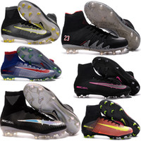Wholesale New Kids Womens Youth Mercurial Superfly FG CR7 Cleats Shoes Soccer Boots Superfly Socks Boots Hypervenom Phantom Football Shoes