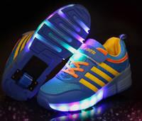 single wheel shoes - Child Jazzy Heelys Junior Girls Boys LED Light Heelys Children Roller Skate Shoes Kids Sneakers With Single Wheels size