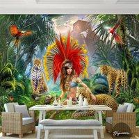 american bird houses - custom photo d wallpaper High quality silk cloth wallpaper HD American Jungle Bird painting style leopard d large wall mural d