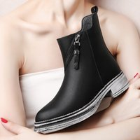 almond boots - 2016 new women boots ankle boots chunky heels and zip boots fashion chelsea boots winter boots motorcycle boots for women D159