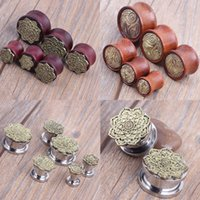 antique surgical - 2016 New Mix Size Style Wood L Surgical Steel Plugs Tunnels Antique Copper Shield Stainless Steel Flower Body Jewelry Piercing