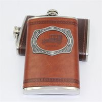 Wholesale 9 OZ Stainless Steel Flask Hip Flask PU Packed Letters Wine Alcohol Flask Liquor Flask Wedding Gift Colors