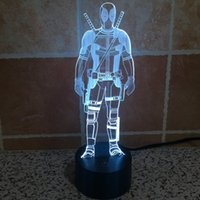 Wholesale Genuine Deadpool LED Light Night Light D Colour Desk Light Acrylic Touch W V USB Plug Retail Package