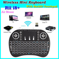 Wholesale Wireless Mini Keyboards with Backlit I8 Plus Game Fly Air Mouse Multi Media Remote Control Touchpad Handheld For TV BOX Android Mini PC DHL