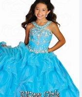 big black pictures - 2016 Ritzee Girls Beads Jewel Girls Pageant Dresses Little Girl Ball Gown Big Kids Full Length Girls Party Gowns