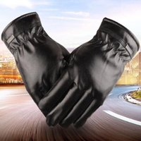 Wholesale Women Outdoor Sport Gloves PU Leather Black Mittens Driving Motorcycle Gloves Men Winter Locomotive Glove Warm Fashion Riding Gloves D229