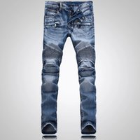 american foreign trade - Men s foreign trade light blue jeans pants Balmain motorcycle pants men washing to do the old fold jeans