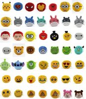 Wholesale 50styles Cartoon coin bag plush coin purse poke minions spiderman Ironman Coin Bags QQ Expression Coin Purses lovely emoji coin bag