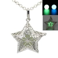 Wholesale Hollow Five Star Pentagram Celestial Star Pendant Locket Box Necklace for Essential Oil Perfume Fragrance Diffuser