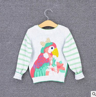 Wholesale New Cartoon Baby Girls Cardigan Parrot Stripe Long Sleeve Kids Knit Sweater Autumn Fashion Printed Children Casual Tops Outwear