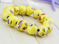 Wholesale Newest QQ Expression Emoji Beaded Bracelets Lovely Color Ceramic Beaded Bracelets High Quality