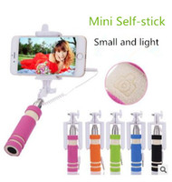 folding stick - Super Mini Wired Selfie Stick Handheld Portable Foldable Foam Monopod Fold Self portrait Stick with Cable for Sansung cases iphone cases
