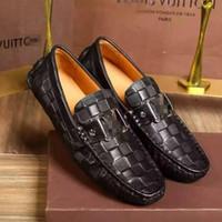 al por mayor hombres auténticos mocasines de cuero-Zapatos de vestir de hombre de los zapatos de cuero genuino de los hombres en los zapatos de los hombres Hombres de negocios de los zapatos de los holgazanes de la marca original de los zapatos de diseñador de los mocasines Hombre